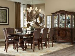 NEW 9 piece Traditional Brown Dining Room Rectangular Table