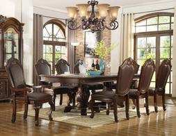 NEW 9PC CHATEAU FORMAL TRADITIONAL CHERRY FINISH WOOD LEATHE