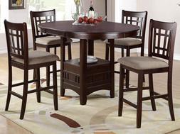 NEW BROOKE 5PC CAPPUCCINO BROWN WOOD ROUND OVAL COUNTER DINI