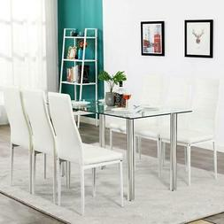 NEW Dining Table Set 6 Chairs Glass Metal Kitchen Room Furni
