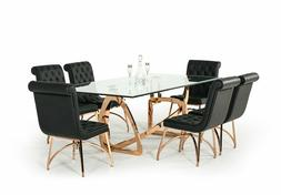 NEW Modern 7 piece Dining Room Set w/ Rectangular Gold Table