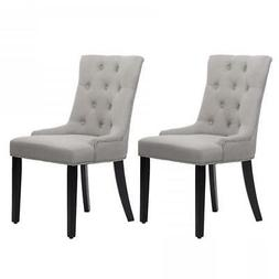 New Set of 2 Grey Elegant Fabric Upholstered Dining Side Cha