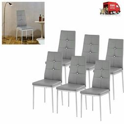 NEW Set of 6 Stunning Dining Side Chairs Leather Dining Room