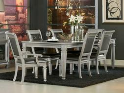 NEW Transitional Silver Dining Room 7pcs Set Rectangular Tab