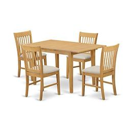 East West Furniture NOFK5-OAK-C 5-Piece Dinette Table Set, O