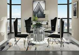 Acme Furniture Noralie Mirror Stainless Steel 5 Piece Dining