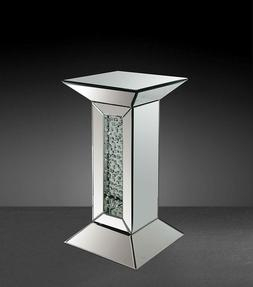 Acme Furniture Nysa Mirrored Pedestal Accent Table Mirrored