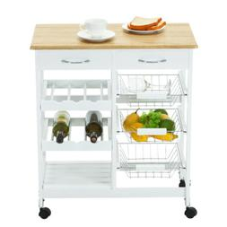 Oak Kitchen Island Cart Trolley Portable Rolling Storage 2 D