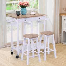 Oak White Kitchen Dining Room Table Set For 2  Storage Bar S