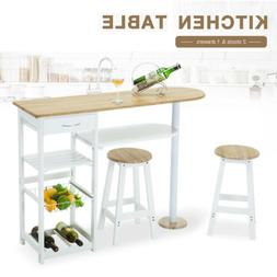 Kitchen Island Trolley Cart Dining Table Storage w/2 Stools