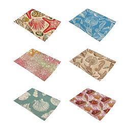 HACASO Ocean Creatures Pattern Cotton Linen Placemats Set of