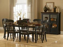 Homelegance Ohana 7 Piece Dining Table Set in Black/Warm Che