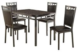 Homelegance 5 Piece Olney Dinette Set with Faux Marble Top,