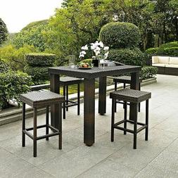 Outdoor Brown Resin Wicker 5 Piece Bar Height Patio Dining S