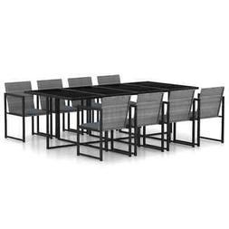 vidaXL Outdoor Dining Set with Cushions 9 Pieces Poly Rattan