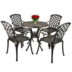 Outdoor Furniture Dining Set All-Weather Cast Aluminum Bistr
