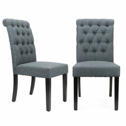 XtremepowerUS Padded Fabric Dining Chair, Set of 2
