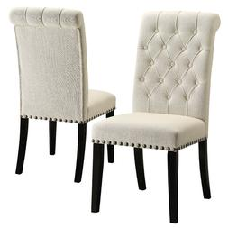 Parkins Cream Fabric Upholstered Side Dining Chair with Nail