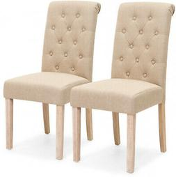 Parsons Dining Chairs Button Tufted Curved High-Back Seat Fu