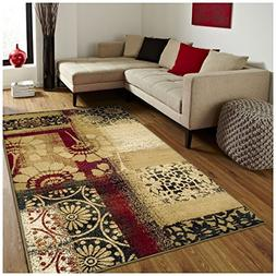 Superior Patchwork Collection Area Rug, Floral and Geometric