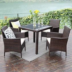 Wisteria Lane Outdoor Patio Dining Table Set, 5 Piece Glasse