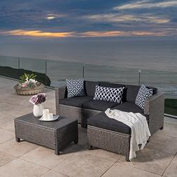 Outdoor Patio Furniture 5-pce Wicker L-Shaped Sectional Sofa