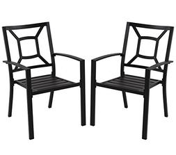 PHI VILLA Patio Metal Arm Chairs Indoor Outdoor Dining Chair
