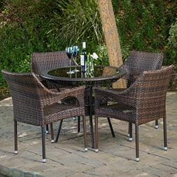 Outdoor Patio  5pc Multibrown All-Weather Wicker Glass Table