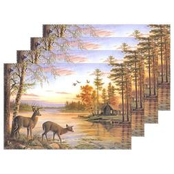LAVOVO Peaceful Log Cabin Deer Flying Bird Pattern Placemats