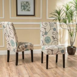 Percival Blue and White Floral Fabric Dining Chairs