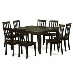 East West Furniture PFAN9-CAP-W 9-Piece Dining Room Table Se
