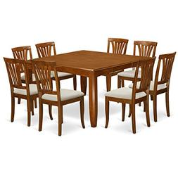 East West Furniture PFAV9-SBR-C 9-Piece Dining Table Set