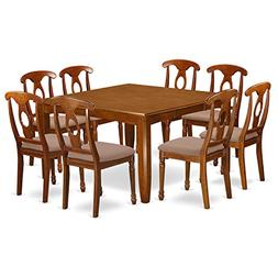 East West Furniture PFNA9-SBR-C 9-Piece Dining Table Set