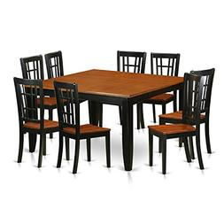 East West Furniture PFNI9-BCH-W 9 Piece Dining Table and 8 S