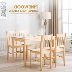 Mecor 5 Piece Kitchen Table Set Natural Pine Wood Table and