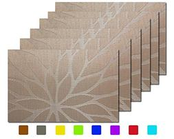 Tennove Placemats Set of 6, Woven Vinyl Table Mats PVC Place