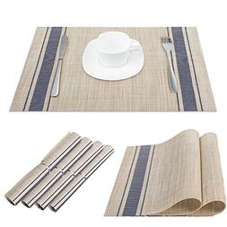 Set of 6 Placemats Dining Room Table Mats Woven Vinyl Washab