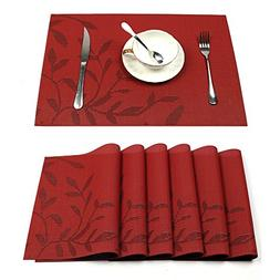 HEBE Placemats Set of 6 Heat-Resistant PVC Placemat for Dini