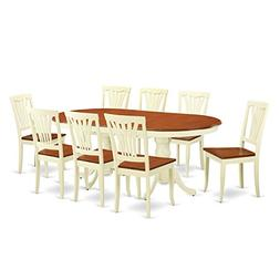 East West Furniture PLAV9-WHI-W 9-Piece Dining Table Set