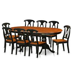 East West Furniture PLKE9-BCH-W 9 Piece Dinette Table and 8