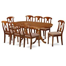 East West Furniture PLNA9-SBR-C 9-Piece Formal Dining Table