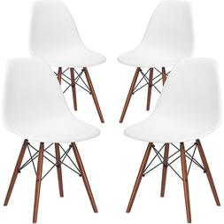 Poly and Bark Vortex Side Chair with Walnut Legs in White