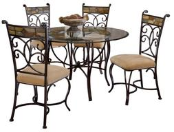 Hillsdale Pompei Slate and Glass 5-Piece Dining Set with Sid
