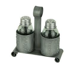 Primitive Punched Tin and Glass Salt and Pepper Shaker Set D
