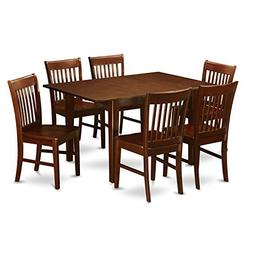East West Furniture PSNO7-MAH-W 7-Piece Kitchen/Dinette Tabl