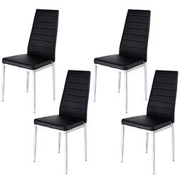 Giantex Set of 4 PU Leather Dining Side Chairs Elegant Desig