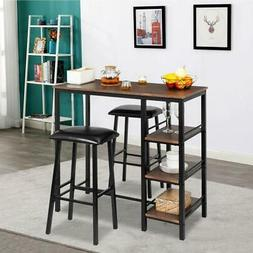 Pub Bar Wood Table Dining Kitchen With 2 Stools Furniture Co