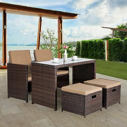 5 PC Rattan Wicker Table Chair Set  Outdoor Cushioned Patio