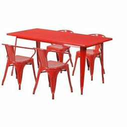 Red Metal Indoor Table Set ET-CT005-4-70-RED-GG