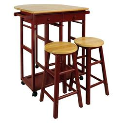 Red Wooden Kitchen Breakfast Cart Set Dining Table Stools Ro